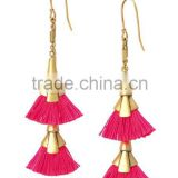 Bright Pink Fan Tassel Pendant Earrings Delicate Fan Statement Earrings