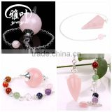 Wholesale Semi precious rose quartz Reiking healing Pendulum