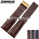 22|24mm high quality genuine cowhide leather Watch Strap Black Brown Blue wholesale 3PCS