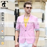 2016 New Fashion Slim Fit Blazers Pink printed fabric One Button Design Jacket Business blazers for men