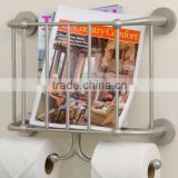 Wall Mounted bathroom metal Magazine Rack with Double Toilet roll holders magazine holder