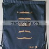 black polyester drawstring shopping bags for promotion ---design 3 bear