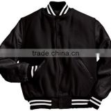 All Black Wool and Leather Baseball Varsity Jackets , Varsity jackets Supplier Form pakistan
