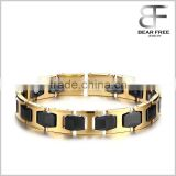 Men's Stainless Steel Ceramic Black Gold Two Tones Bio Magnetic Theraphy Healthy Bracelet