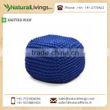 Popular and Fashionable Navy Blue Colour Knitted Pouf with Thermoballs Filling