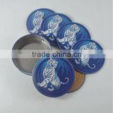 Tiger beer brand metal tin coaster/cork coaster