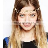 New Beach Boho Style Wave tassel Paillette Chain Metal Gold Plated Head Chain Hair Jewelry