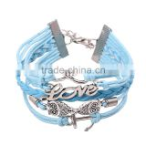 Wholesale Newest Fashion Custom Infinity Love Leather Bracelets Woven Friendship Bracelets