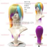 High heat resistant fluorescent carnival cheap mix colorful disguises japanese party wig in guangzhou