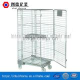Heavy Duty Foldable Portable Wire Stackable and Galvanized Container 4 sides Rolling Cage Cart