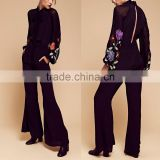 One piece black high neck long sleeve embroidered jumpsuits for woman 2016