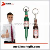 plastic beer bottle shaped ball pen with key ring new style retractable roller pen