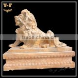 Life size marble lion sculpture