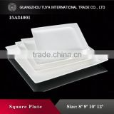 Restaurant wholesale rectangular cooking enamel plates with white plate