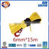 XINSAILFISH 6mm*15m utv winch line,electric winch cable for jeep accessaries,uhmwpe winch rope