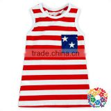 The Fourth Of July Mother and Daughter Outfit Tank Tops Sleeveless Red And White Striped Shirts With Stars Pocket For Babies