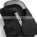 Black solid color classical dress uniform business shirt designs for men polo shirt men