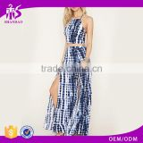 2017 guangzhou shandao summer oem service new design fashion high slit printing women long skirt models