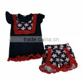 bulk wholesale kids clothing flutter sleeve bibs navy t-shirts match star pattern shorts pom pom outfit clothes children