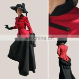 Rose Team-Free Shipping Custom Made Civil War Dress Southern Belle Red & Black Dress Sexy Carnival Halloween Costume
