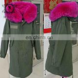 women jackets warm fox fur collar hooded long italian fox fur lined coats