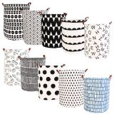 canvas printed white large storage basket round leather laundry basket foldable fabric laundry basket with handles