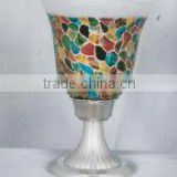 Mosaic Glass Hurricane Candle Holder For Home Decor