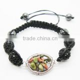 Woven Unakite chip lucky tree gemstone and 10MM black Crystal balls woven bracelet