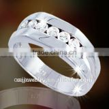 cheap fashion jewelry comfort fit high quality cz jewelry band men's silver wedding ring