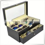 Luxury handmade cumstermized pu leather eyeglasses case with handle                                                                                                         Supplier's Choice