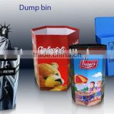 cardboard dump bin display for promotional pop retail display vessel paper store dump bin