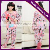 popular girls 1/4 placket round neck long sleeve nightgown with famous cartoon figure printed
