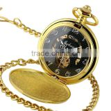Golden Gold Antique Skeleton Mechanical Pocket Watch Necklace WP133