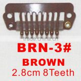 BRN-3# Retail and wholesale 28mm long Brown color straight 8 teeth easy snap clips for hair extensions wigs wefts weavings