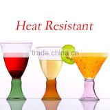 Handmade Heat Resistant cocktail Glass with color base