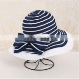 QXSH0040 New Floppy Style Summer Striped Beach Polyester Straw Hat with Butterfly Knot for women