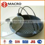 cast iron round ribs fry pan with glass lid