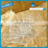 Wholesaling lotus shaped beaded bottom fruit glass plate glass plate fruit glassware clear fruit glass bowl