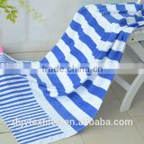 100% Cotton Custom Promotional Velour Reactive Printed Beach Towel - printing in blue stripe