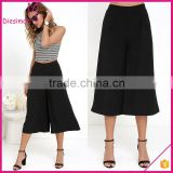 Hot Selling New Fashion Woven Fabric High Waist Wide Leg Mid Length Black Culottes Pants For Women
