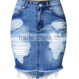 professional jeans manufacture guangzhou china girls Women's High Waist Hole Jean Skirts Pencil denim Skirt