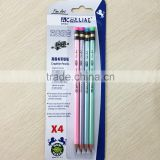 Standard size round shape soft wood pearl HB pencil in blister card