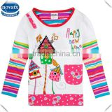 (F5294) 2-6Y white new designs cotton children's clothes long sleeves kids clothing nova kids child t shirt