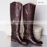 OLZB12 unique design genuine raw naturalizer leather upper process knee high women boots