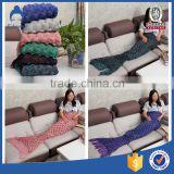 Baby cute and warm winter cotton yarn knit mermaid tail blanket