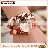 Gold chain wrap bracelet leather watch women fancy jewelry
