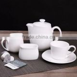 Manufacturer porcelain ceramic tea pot set include banquet milk jug creamer,ceramic sugar bowl,coffee cup and tea pot