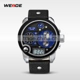 WEIDE Fashion Casual Quartz Wrist Watch Large Dial Blue Water Resistant Leather watch Strap Military watches men