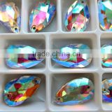 High refraction tear drop shape crystal AB color 17x28mm fancy stones .High definition decorative colored glass sew on stones