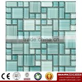 IMARK Green Color Hand Painting Crystal Glass Mosaic Tiles for Wall Backsplash Code IVG8-042